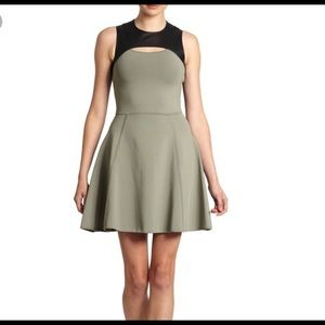 NWT-Cut25 military green and leather dress
